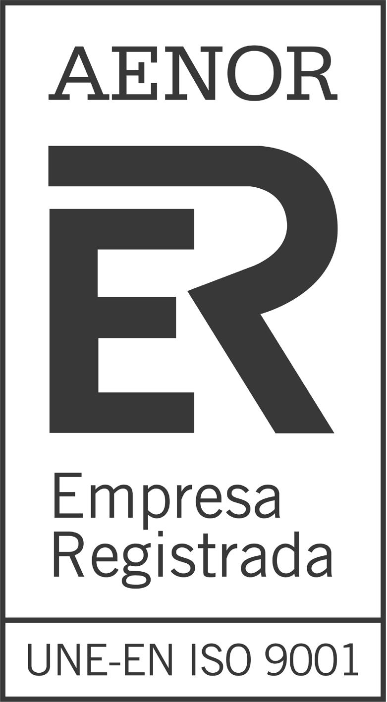 Imagen del sello 'empresa registrada' de AENOR. Norma: UNE-EN ISO 9001.